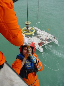 Catamaran winching operation